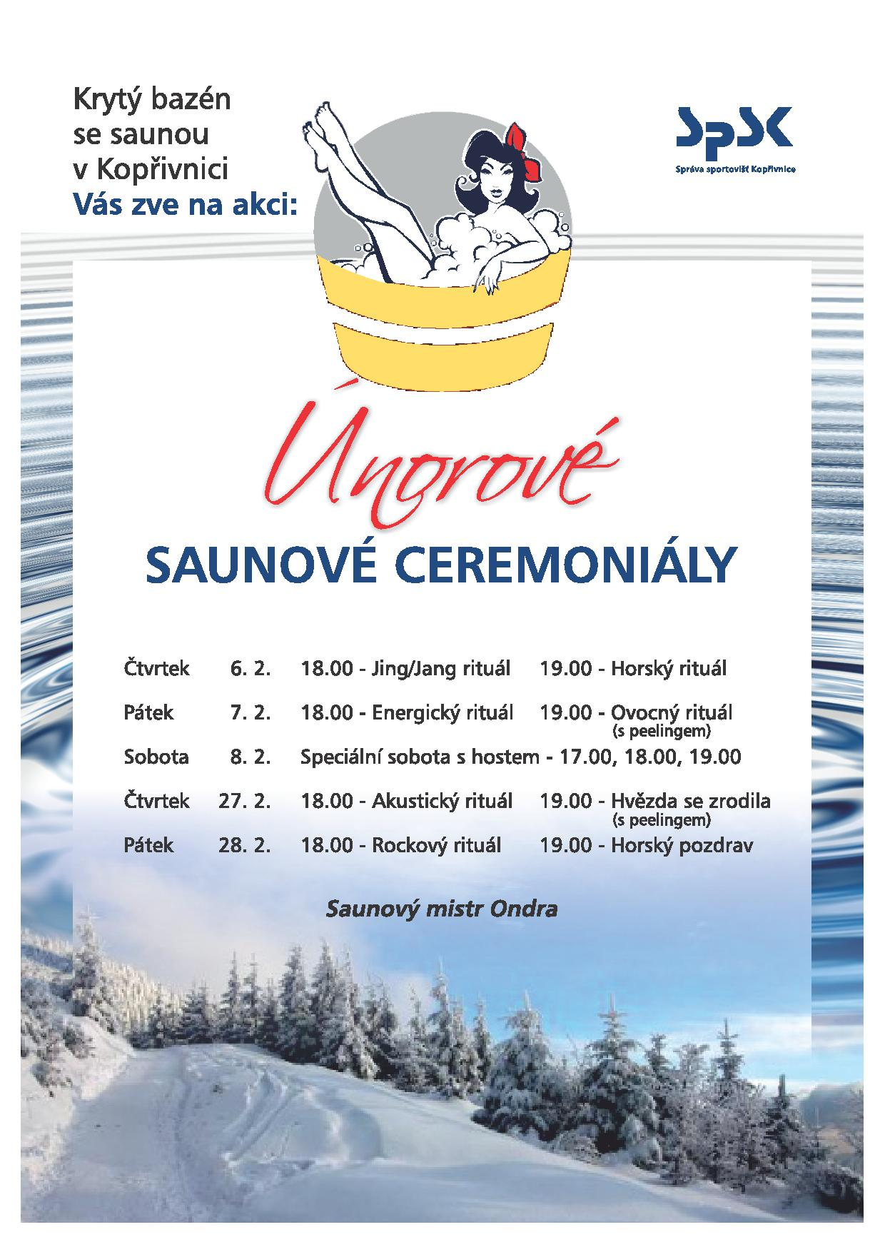 Únorové saunové ceremoniály - plakát